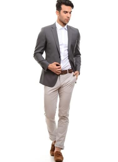 Cotton Bar Iki Düğmeliiçi Astarlı Slim Fit Düz Erkek Ceket Gri